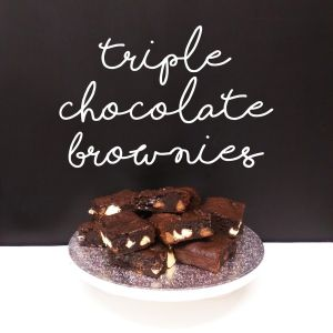 Triple chocolate brownies for the Great British bake off
