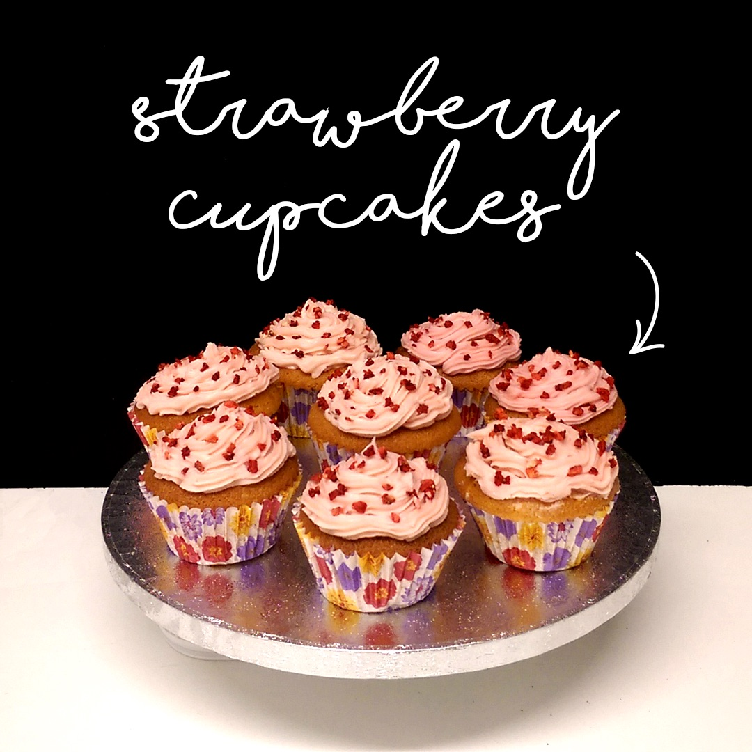 Strawberry cupcakes for the great bake off