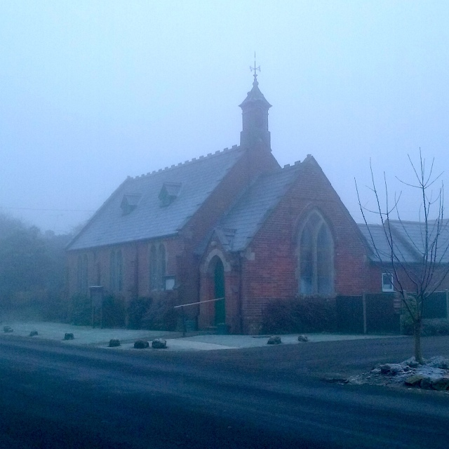 Foggy photo of a church in Dorset. Postsnap