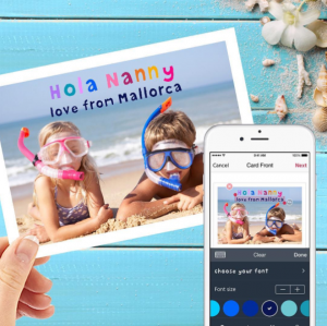 Send family a postcard from Postsnap app