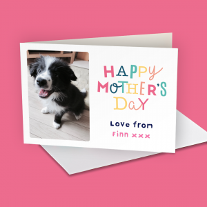 Putting pet dogs on your Mother's Day card.