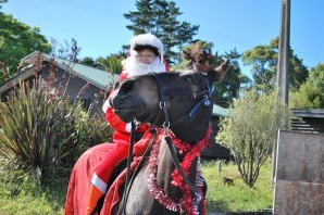 Santa rides a horse for a personalised Christmas card