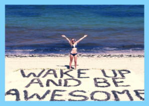 Wake up and be awesome personalised card