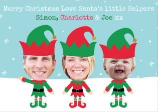 Elves face in the hole christmas card from postsnap