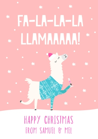 pink customcard llama christmas card