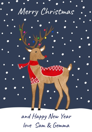 customcard reindeer christmas card